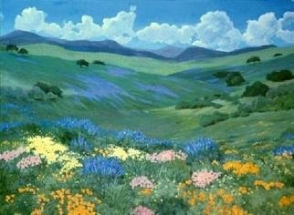 Sue Jacobsen; California Lupins And Poppies, 1990, Original Painting Oil, 66 x 48 inches.
