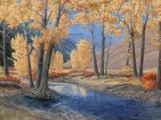 Sue Jacobsen; Trail Creek At The Bridge, 2001, Original Painting Oil, 40 x 30 inches. Artwork description: 241 Dropping leaves and low creek water create a quiet scene....