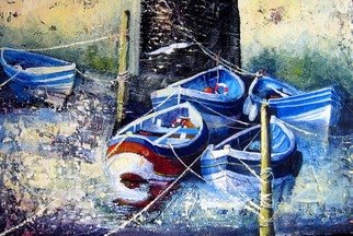 Sue Nichol; Cobles Staithes, 2005, Original Painting Acrylic, 24 x 12 inches. Artwork description: 241  Cobles in the beck at Staithes ...
