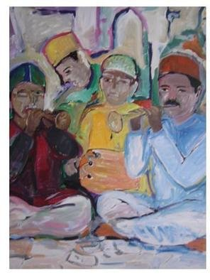 Ajmal Maharaj; Shahnai, 2008, Original Painting Acrylic, 2.6 x 3 feet. Artwork description: 241  represents the musicians of the shehnai, instrumentak music based on the classical music of India. ...