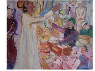 Ajmal Maharaj; Sufitrance And Music, 2008, Original Painting Acrylic, 2.6 x 3 feet. Artwork description: 241  This picture represents the sufi culture of using music and poetry to work out a spiritual trance during the annual sufi festival of peace. ...