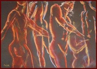 Susanne Mason; Dancer, 2004, Original Pastel, 50 x 30 cm. Artwork description: 241 several poses of a male life drawing model; pastel on dark red Ingres paper...