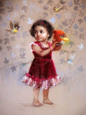 Surabhi Gulwelkar; Happy Bird, 2015, Original Pastel, 22 x 29 inches. Artwork description: 241 Portrait, Realistic Art, Innocence, Pastel,Fine arts, ...