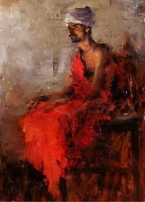 Surabhi Gulwelkar; Man In Red, 2018, Original Painting Oil, 22 x 29 inches. Artwork description: 241 Portrait, Creative Portrait, Bold brush stroke, Bold work, Impressionism, Fine art ...