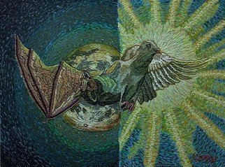 Stephen Vattimo; Terror And Peace, 2016, Original Painting Acrylic, 36 x 24 inches. Artwork description: 241  Medium   Acrylic On CanvasSize  26 x 34Style Symbolism, Surreal, impressionistic .Subject Dove, Sun, - Bat, MoonDate of Work  Nov 2015 - Sept 19,2016This painting started out as a pumpkin design for the Chads Ford Pa. Historical Societys Great pumpkin Carve.      Which I have been ...
