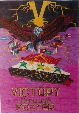 Stephen Vattimo; Victory Through Prayer, 1991, Original Painting Acrylic, 24 x 48 inches. Artwork description: 241  Medium : Water Color Markers on illustration BoardSize 2'x 4'Year completed : 1991This illustration is part of a collection of artwork I did while in the military entitled,