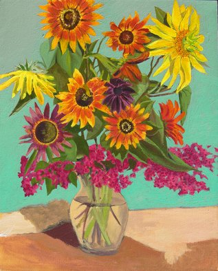 Fred Paddock; Eclipse, 2006, Original Painting Acrylic, 24 x 30 inches. Artwork description: 241  Vase of Sunflowers.   ...