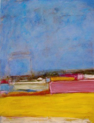 Susan Grissom; Industrial 1, 2008, Original Painting Acrylic, 16 x 20 feet. Artwork description: 241  abstract with multiple glazes in blue yellow pink gray ...