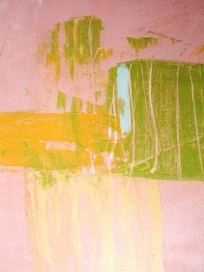 Susan Grissom; Pink 3211, 2007, Original Painting Acrylic, 18 x 24 inches. Artwork description: 241  abstract with pink washes and blocks of greena and orange and yellow  ...