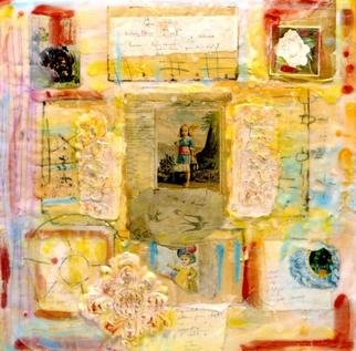 Susan Leopold; April 1, 2005, Original Mixed Media, 36 x 36 inches. Artwork description: 241 mixed media, encaustic collage on panel.  portrait of childhood memories, dreams and symbols. ...