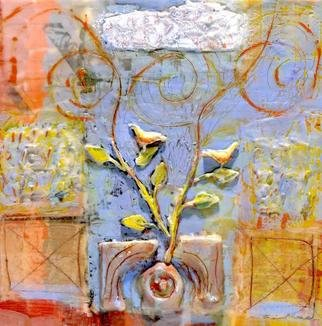 Susan Leopold; Growth, 2005, Original Mixed Media, 36 x 36 inches. Artwork description: 241 Mixed media, collage and encaustic on panel. This painting is about spiritual growth ...