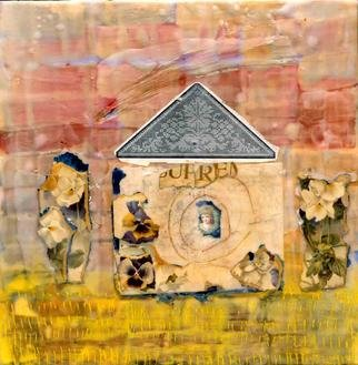 Susan Leopold; House Nd Home, 2005, Original Collage, 3 x 3 feet. Artwork description: 241 Mixed Media collage and encaustic on panel...