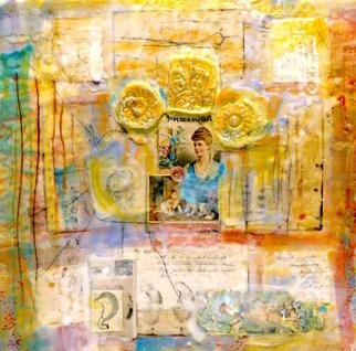 Susan Leopold; Pretiosa, 2005, Original Mixed Media, 36 x 36 inches. Artwork description: 241 Collage, mixed media and encaustic on panel. Portrait of woman, memories, dreams, symbols, past and present....