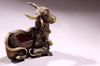 Sakhuja Sushil; Indian Arts, 2008, Original Sculpture Bronze, 7 x 6 inches. Artwork description: 241  cow and calf ...