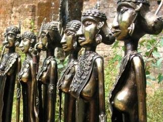 Sakhuja Sushil; Ladies Musicians, 2005, Original Sculpture Bronze, 12 x 48 inches.