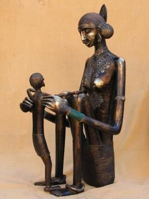 Sakhuja Sushil; Mother And Child, 2005, Original Sculpture Bronze, 19 x 37 inches.