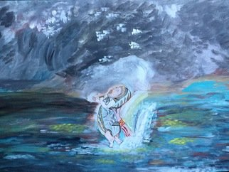 Sushree Choudhary; The Begining, 2017, Original Painting Acrylic, 48 x 24 inches. Artwork description: 241 The begining is the titile as I inspired by a movie where mother is saving her child by sacrificing herself from water to begin her childaEURtms life. ...
