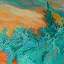 Artist: Suzanne Caron, title: Boreal Thoughts, 2014, Original Painting Acrylic