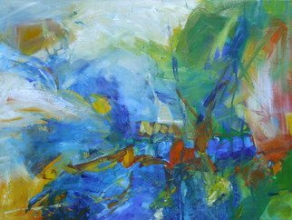 Suzanne Caron; Landscape With Blue, 2008, Original Painting Acrylic, 24 x 18 inches. Artwork description: 241 acrylic, abstract, blue water, green vegetation, reflections...