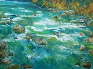 Suzanne Caron; The River, 2010, Original Painting Acrylic, 48 x 36 inches. Artwork description: 241 Inspired by the Kern River, California, cool greens and blues...
