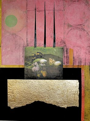 Suzanne Benton; Dark Cloth, 2014, Original Printmaking Other, 13 x 18 inches. Artwork description: 241  France, still life, art history, mixed media, multilayers, multicultural Locked until the year 2000, never opened, collage          ...