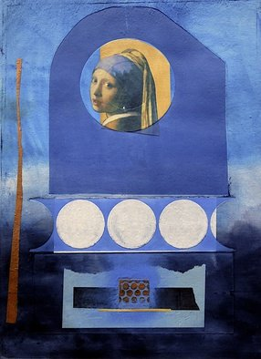 Suzanne Benton; Girl With The Pearl, 2015, Original Printmaking Other, 20 x 27.3 inches. Artwork description: 241  Vermeer, Proust, collage, mixed media, printmaking, Chine colle, color, form, structure, layers, interweaving, spotlight to art history ...