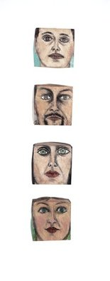 Suzanne Benton; Ireland Portrait Boxes  Front, 2004, Original Sculpture Other, 8 x 44 inches. Artwork description: 241   mixed media, faces, portraits, multilayers, multicultural Locked until the year 2000, never opened, collage      ...