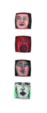 Suzanne Benton; Ireland Portrait Boxes  Inside, 2004, Original Sculpture Other, 8 x 44 inches. Artwork description: 241    mixed media, faces, portraits, multilayers, multicultural Locked until the year 2000, never opened, collage       ...