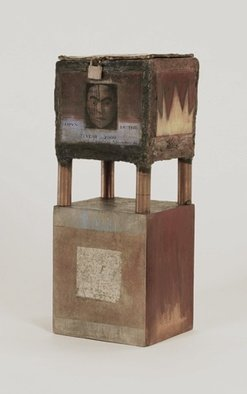 Suzanne Benton; Secret Treasure Box, 1990, Original Sculpture Mixed, 9.5 x 17.5 inches. Artwork description: 241  copper, wood, multilayers, multicultural Locked until the year 2000, never opened, collage     ...