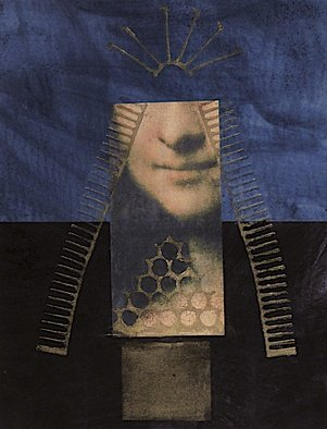 Suzanne Benton; The Hidden Smile, 2014, Original Printmaking Other, 8 x 10 inches. Artwork description: 241     Da Vinci, Italy, art history, mixed media, faces, portraits, multilayers, multicultural Locked until the year 2000, never opened, collage        ...