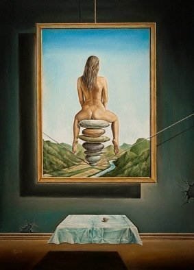 Svetoslav Stoyanov; BALANCE, 2011, Original Painting Oil, 41 x 56 cm. Artwork description: 241   contemporary, surrealism, realism, fantasy, erotic, woman, girl, naked, stones, sky, clouds, oil, canvas, landscape, blue, framed prints, originals, nudy, people, room, dark, nature, sex, balance, for   ...