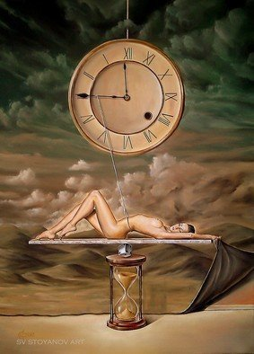Svetoslav Stoyanov; ILLUSION OF TIME, 2012, Original Painting Oil, 41 x 56 cm. Artwork description: 241          contemporary, surrealism, realism, fantasy, sky, clouds, oil, canvas, landscape, blue, prints, nature, forsale, fine art, clouds, nude, woman, clock, illusion, time, green sky         ...
