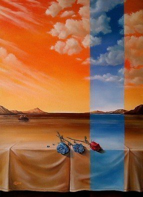 Svetoslav Stoyanov; PARALLEL WORLD, 2012, Original Painting Oil, 41 x 56 cm. Artwork description: 241        contemporary, surrealism, realism, fantasy, sky, clouds, oil, canvas, landscape, blue, orange, prints, nature, forsale, fine art, clouds, roses       ...