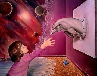 Svetoslav Stoyanov; ROOM OF DREAMS, 2012, Original Painting Oil, 50 x 41 cm. Artwork description: 241      contemporary, surrealism, realism, fantasy, erotic, sky, clouds, oil, kids, child, animal, , dolphins, canvas, landscape, blue, framed prints, originals, people, room, dark, nature, forsale, fine art, space, planets, purple      ...