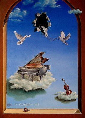 Svetoslav Stoyanov; SILENT SYMPHONY, 2012, Original Painting Oil, 41 x 56 cm. Artwork description: 241 contemporary, surrealism, realism, fantasy, sky, clouds, oil, canvas, landscape, blue, prints, nature, forsale, fine art, clouds, birds, piano, music, symphony ...