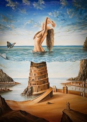 Svetoslav Stoyanov; THE NEW BABYLON, 2011, Original Painting Oil, 41 x 56 cm. Artwork description: 241    contemporary, surrealism, realism, fantasy, erotic, woman, girl, naked, stones, sky, clouds, oil, canvas, landscape, blue, framed prints, originals, nudy, people, room, dark, nature, sex, balance, for    ...