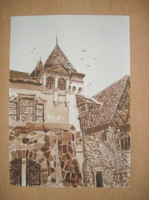 Iuliana Sava; Old Castle From Pelisor S..., 2008, Original Drawing Other, 21 x 29 cm. Artwork description: 241  Drawing ink on paper, size 21x29cm, 2008. Post i pay. ...