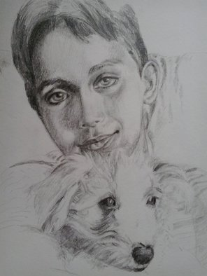 Iuliana Sava; The Boy With Dog Her Friend, 2013, Original Drawing Pencil,   cm.