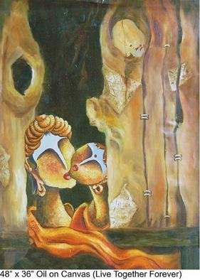 Svappna Malvaade; Live  Together Forever, 2007, Original Painting Oil, 36 x 48 inches. Artwork description: 241  Love ...