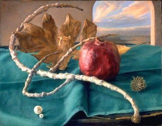 Sofia Wyshkind; Attributes Of Nature, 1994, Original Painting Oil, 14 x 11 inches. Artwork description: 241  Pomegranate, dry branch, dry oak leaf and pearl on green close. Arched window on back ground with the view of the sea. ...