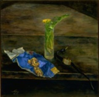 Sofia Wyshkind; Hercules I, 2003, Original Painting Oil, 12 x 12 inches. Artwork description: 241  Piece of newspaper with sign Hercules and glass with grass ...