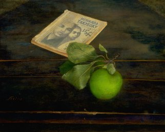 Sofia Wyshkind; Isikava Takuboku, 2000, Original Painting Oil, 14 x 10 inches. Artwork description: 241   The poetry of Isikava Takuboku beautiful and simple as a green apple on old wooden table ...