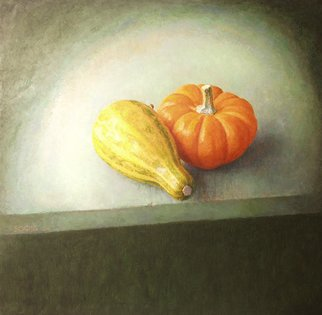 Sofia Wyshkind; Lime Light Two Squashes, 1999, Original Painting Oil, 18 x 18 inches. Artwork description: 241    Two actors on the stage  ...