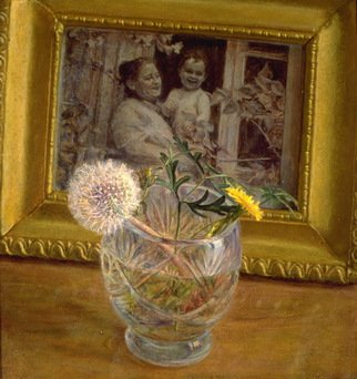 Sofia Wyshkind; Remenisence, 1978, Original Painting Oil, 12 x 12 inches. Artwork description: 241  The glass with dandelion and picture of woman with baby in the frame ...