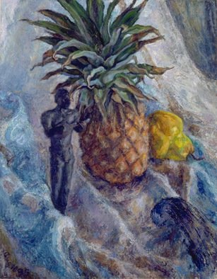 Sofia Wyshkind; Banjo Player, 1990, Original Painting Oil, 15 x 18 inches. Artwork description: 241   banjo player and pineapple ...