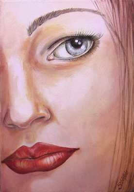 Sylvia Kula; Red Lipstick, 2007, Original Painting Acrylic, 21 x 30 cm. Artwork description: 241  Original painting, acrylic on canvas, signed, size 210x300mm, 17mm deep. NOT FOR SALE. 21. 0 ...