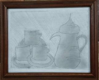Taha Alhashim; Eastern Art , 2009, Original Drawing Pencil, 19.5 x 25 cm. Artwork description: 241 This drawing is about what some of the old Eastern countries used in order to drink coffee or tea. It was made in 2009, and it was first drawn and colored by pencils only, but then I added a brown color to improve it. ...