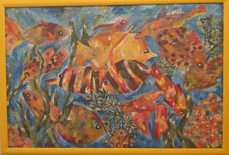 Tamara Black; Fishes, 2014, Original Painting Oil, 63 x 43 cm. Artwork description: 241 Aqua, FishesSignedFramedFrame Color: Yellow...
