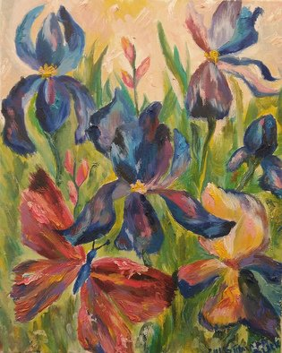 Tamara Black; Irises, 2016, Original Painting Oil, 40 x 50 cm. Artwork description: 241 Flowers, IrisesSIgnedUnframed...