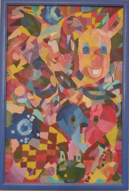 Tamara Black; Masks, 2002, Original Painting Oil, 43 x 63 cm. Artwork description: 241 Masks, Satire, CubismLet s play - How many masks you may find out hereSignedFramedFrame Color: Dark Blue...